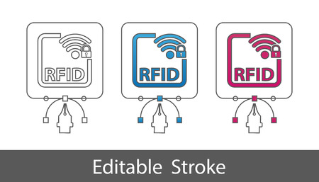 RFID Locked Symbol - Outline Styled Icon - Editable Stroke - Vector Illustration - Isolated On White Background