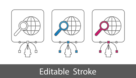 Search In World Wide Web Symbol - Outline Styled Icon - Editable Stroke - Vector Illustration - Isolated On White Background