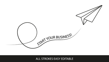 Paper Airplane Start Your Business! - Editable Strokes - Vector Illustration - Isolated On White Background
