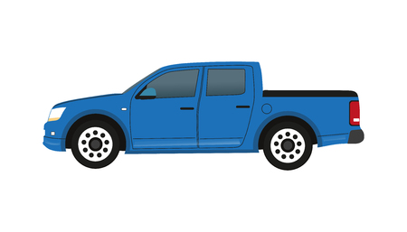 Blue Pickup Truck - Vector Illustration - Isolated On White Background