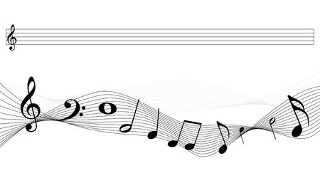 Music Notes Background - Black Vector Illustration - Isolated On White Background Çizim