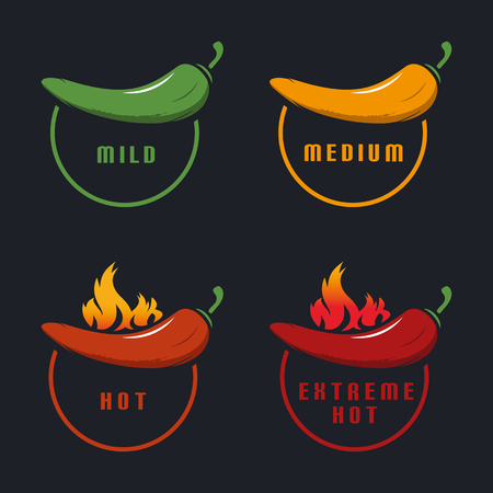Chili Mild, Medium, Hot, Extreme Hot With Flame - Colorful Vector Illustration - Isolated On Black Background