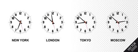 Diferentes zonas horarias - Nueva York, Londres, Tokio, Moscú - Ilustración vectorial - Aislado en fondo transparente