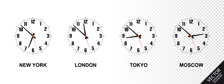 Different Time Zones - New York, London, Tokyo, Moscow - Vector Illustration - Isolated On Transparent Background