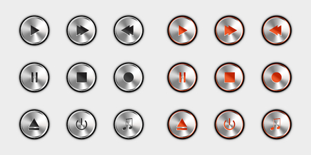 Media Player Control Icon Set - Switched Off And Switched On Version - Silver Metallic Vector Illustration - Isolated On White Background