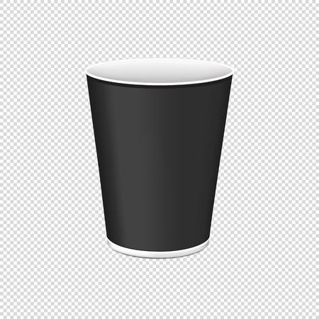 Black Plastic Cup For Single Use - Vector Illustration - Isolated On Transparent Background Illustration