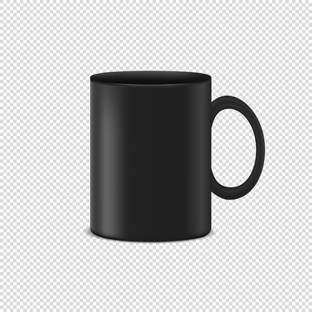 Black Coffee Cup - Realistic Vector Illustration - Isolated On Transparent Background