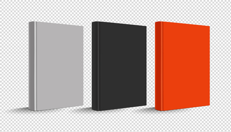 Blank Vertical Hardcover Book Set - Vector Illustration - Isolated On Transparent Background