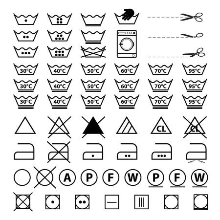 Laundry Symbols - Vector Illustrations Set - Isolated On White Background