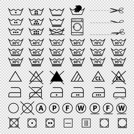 Laundry Symbols - Vector Illustrations Set - Isolated On Transparent Background