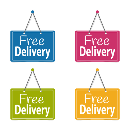 Free Delivery Hanging Business Signs - Vector Illustration - Isolated On White Background