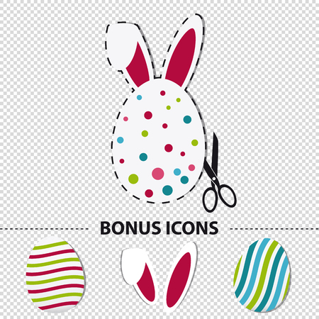 Painted Easter Eggs And Bunny Ears - Colorful Vector Illustration Inclusive Bonus Icons - Isolated On Transparent Background Ilustrace