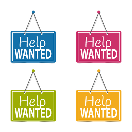 Help Wanted Hanging Business Signs - Vector Illustration - Isolated On White Background Illustration