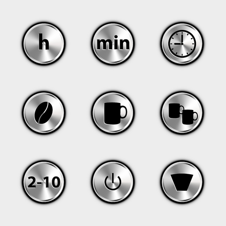 Coffee Machine Control Icons - Metallic Vector Illustrations - Isolated On White Background