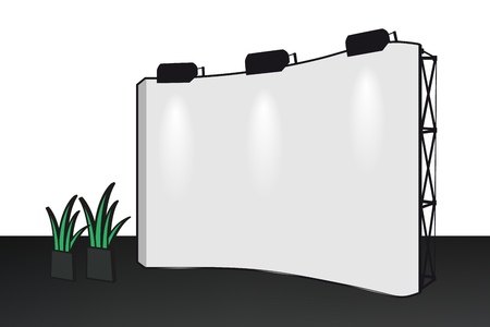 Banner Display Mockup With Green Plants - Vector Illustration - Isolated On White Background