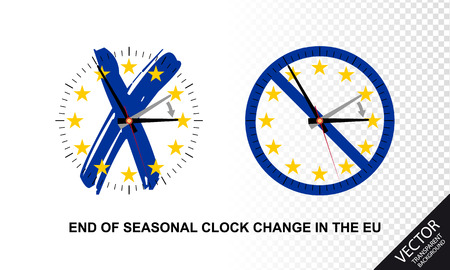 End Of Seasonal Clock Change In The European Union - Vector Illustrations Concept Illustration
