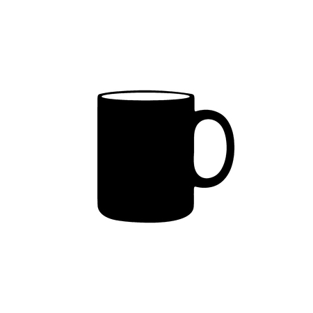Empty Coffee Cup Silhouette - Black Vector Illustration - Isolated On White Background  イラスト・ベクター素材