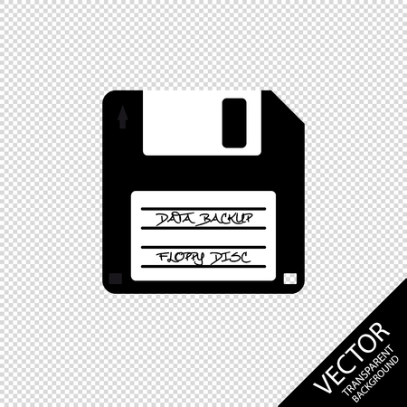 Floppy Disc Data Backup - Vector Illustration - Isolated On Transparent Background