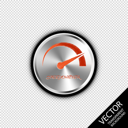 Speedometer On Silver Metallic Button - Vector Illustration - Isolated On Transparent Blackground Çizim