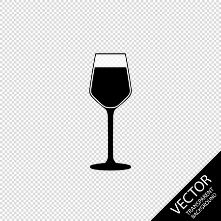Glass Of Wine - Vector Illustration - Isolated On Transparent Blackground