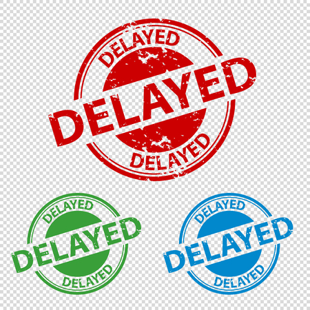 Rubber Stamp Seal Delayed - Vector Illustration - Isolated On Transparent Background