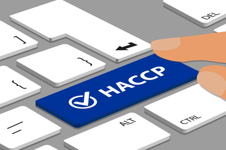 HACCP Button With Check Mark On Laptop Keyboard With Fingers - Vector Illustration Çizim