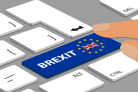 BREXIT Concept - Computer Or Laptop Keyboard With Blue  Button With Fingers - Vector Illustration 스톡 콘텐츠 - 120512780