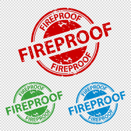 Rubber Stamp Seal Fireproof - Vector Illustration - Isolated On Transparent Background Çizim