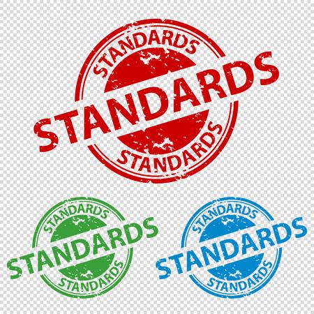 Estándares de sello de sello de goma - ilustración vectorial - aislado sobre fondo transparente Ilustración de vector