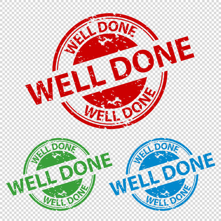 Rubber Stamp Seal Well Done - Colorful Vector Illustration - Isolated On Transparent Background