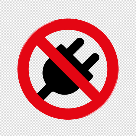 Forbidden Sign No Plug - Vector Illustration - Isolated On Transparent Background Banco de Imagens - 124920650