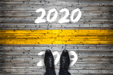 Welcome 2020 - Goodbye 2019 - Start Concept Banco de Imagens