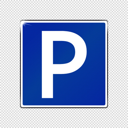 Parking Spot Sign - Blue Shining Vector Illustration - Isolated On Transparent Background