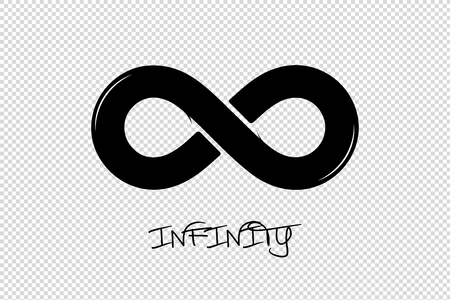 Infinity Icon - Black Vector Illustration - Isolated On Transparent Background