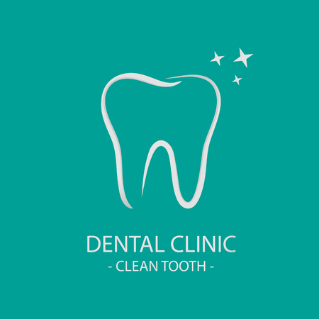 Clean Tooth Dental Clinic Concept - Vector Illustration - Isolated On Monochrome Background