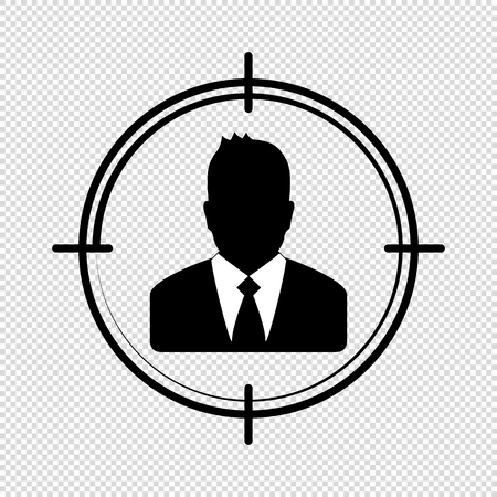 Target Audience Icon - Vector Businessman Illustration - Isolated On Transparent Background