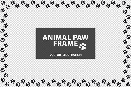 Rectangle Frame Made Of Animal Paws - Vector Illustration - Isolated On Transparent Background