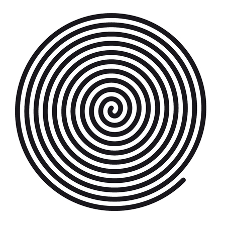 Abstract Round Hypnotic Spiral Vortex - Vector Illustration - Isolated On White Background