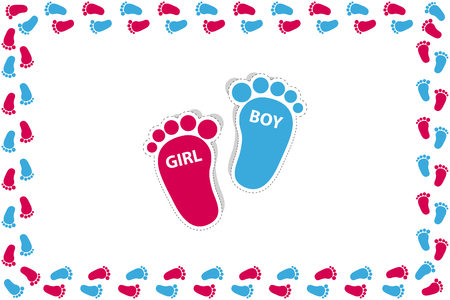 Rectangle Frame Made Of Baby Girl And Boy Feets - Vector Illustration - Isolated On White Background