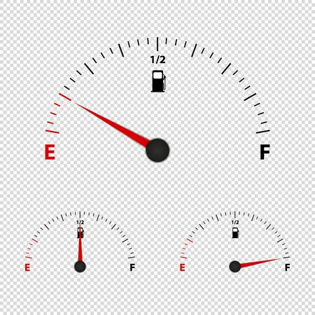 Fuel Gauge Meter Empty, Half And Full - Vector Illustration - Isolated On Transparent Background Stock Illustratie