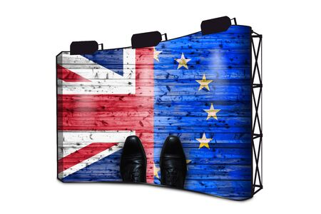 Brexit, Flags Of The United Kingdom And The European Union On Wooden Background With Shoes - Business Concept On Banner Display With Lights
