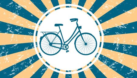 Bicycle And White Circle On Blue And Beige Sunburst Background With Texture