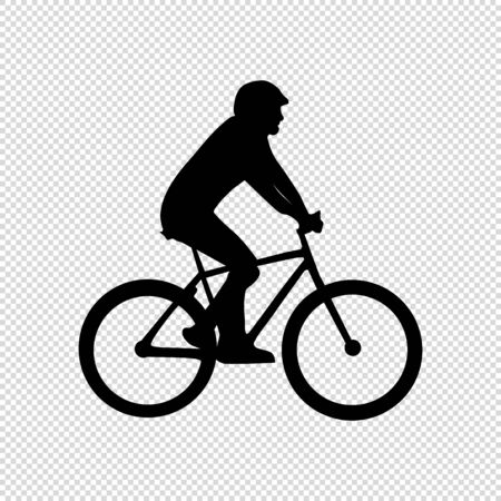 Cyclist Silhouette - Black Vector Illustration - Isolated On Transparent Background Stock Illustratie