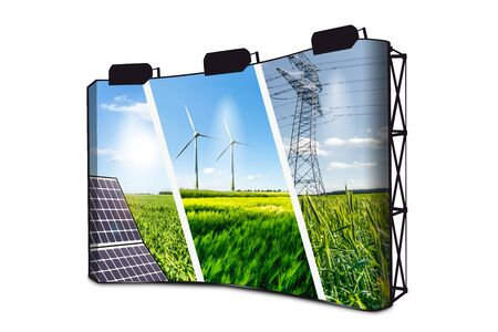 Renewable Energies Concept Collage With Solar Panel, Wind Mills And Electrical Energy Infrastucture On Banner Display With Lights Stockfoto
