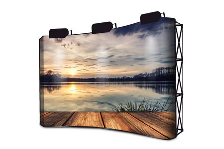 Silence On The Lake - Boardwalk At Sunset - Advertising Banner Display With Lights