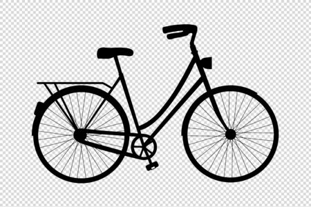 Bicycle Silhouette - Vector Illustration - Isolated On Transparent Background Stock Illustratie