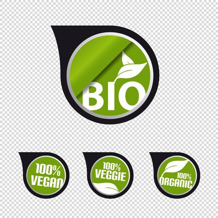 Bio, Vegan, Veggie, Natural Speech Bubbles With Leaf - Vector Illustration - Isolated On Transparent Background