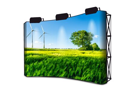 Green Wheat Field With Tree, Blue Sky And Wind Wheels In Background - Wind Turbines Generating Electricity - Advertising Banner Display With Lights