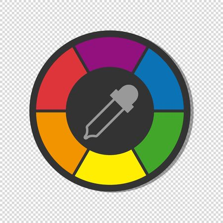 Color Wheel With Pipette - Colorful Vector Illustration - Isolated On Transparent Background