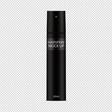 Black Hairspray Bottle Template - Vector Mock Up - Isolated On Transparent Background